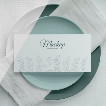 Flat lay of spring menu mock-up on plates
