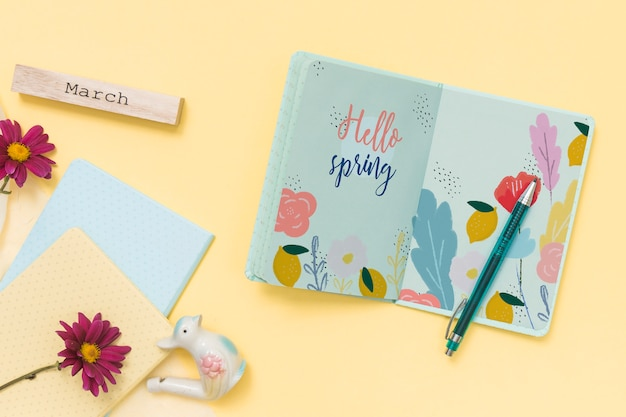 Flat lay spring mockup with book