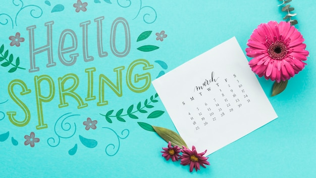 Flat lay spring mockup with calendar