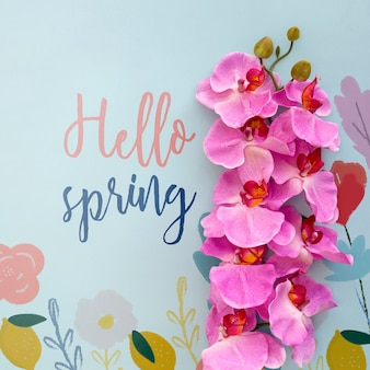 Flat lay spring mockup with copyspace