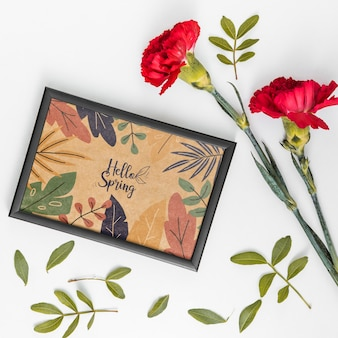 Flat lay spring mockup with frame