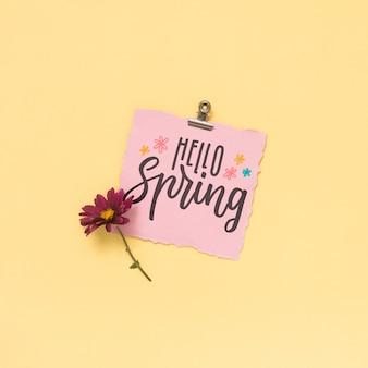 Flat lay spring mockup with greeting card