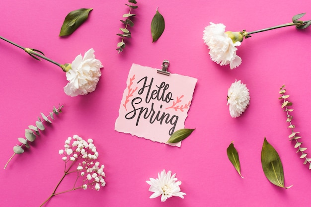 Flat lay spring mockup with greeting card