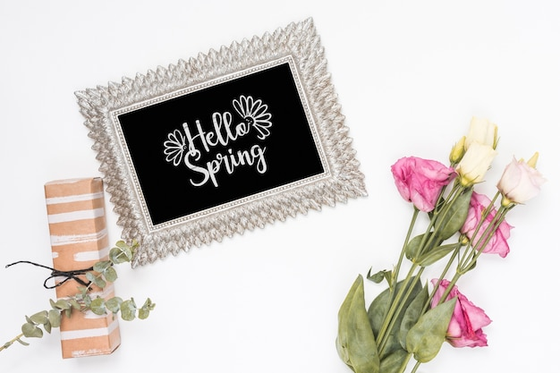 Flat lay spring mockup with slate