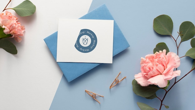Flat lay stationery and beautiful flowers