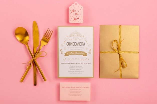 Flat lay stationery items for sweet fifteen event
