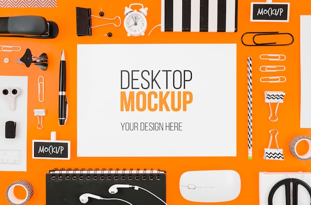 Flat lay stationery mock-up with desk tools