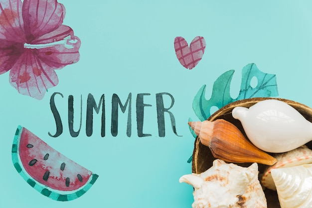 Flat lay summer background with copyspace