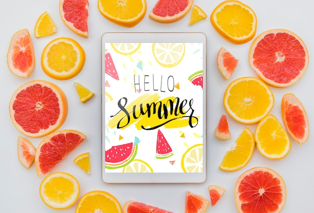 Flat lay summer background with tablet mockup