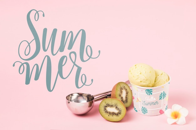 Flat lay summer mockup with copyspace and ice cream