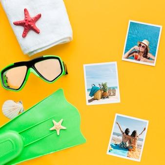 Flat lay swimming items arrangement