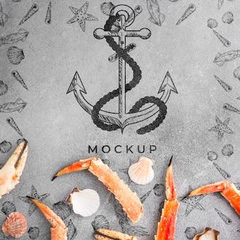 Piatto gustoso composizione di frutti di mare con mock-up