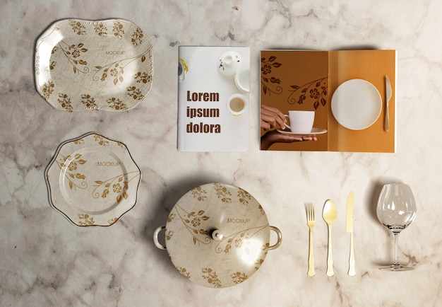 Flat lay of thanksgiving concept on marble background