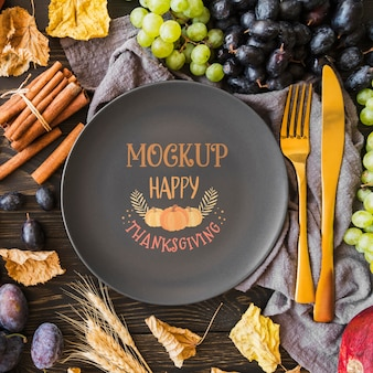 Flat lay of thanksgiving concepy mock-up