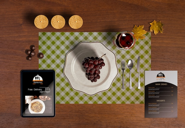 Flat lay of thanksgiving scene creator concept