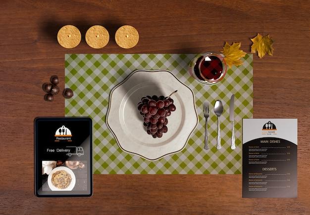 Flat lay of thanksgiving scene creator concept