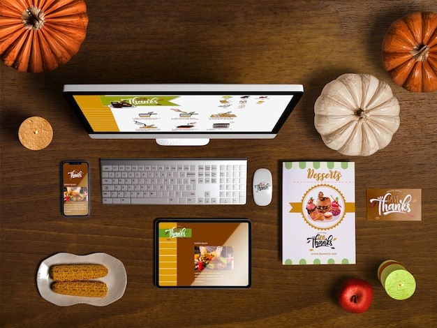 Flat lay of thanksgiving scene creator with wooden background