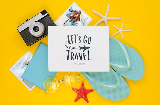 Flat lay travel concept with flip flops
