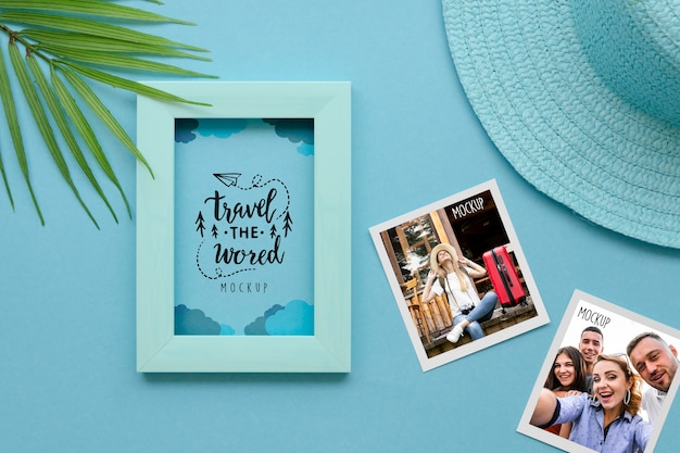 Flat lay travel concept with frame