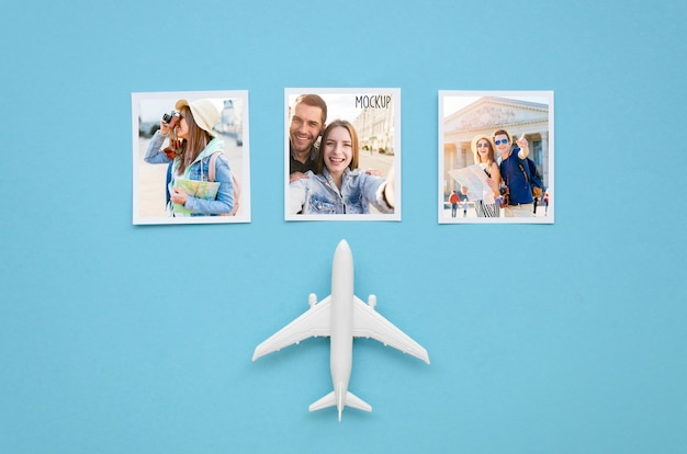Flat lay travel concept with plane toy