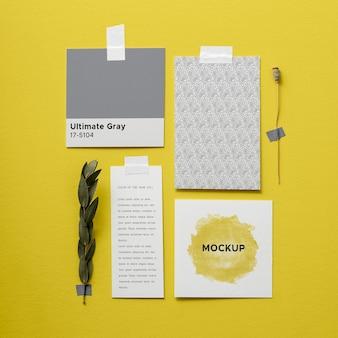 Flat lay ultimate gray and illuminating elements arrangement
