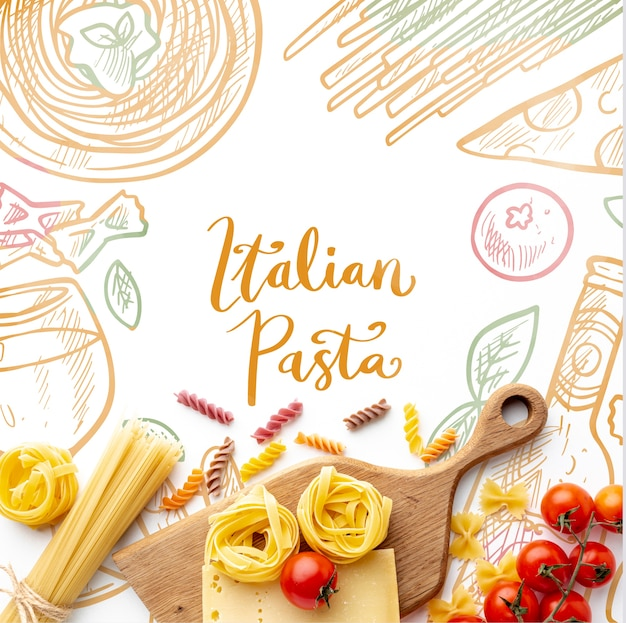 Flat lay uncooked pasta assortment and tomatoes with hand drawn background