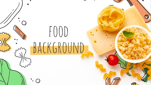 Flat lay uncooked pasta mix and cheese on hand drawn background