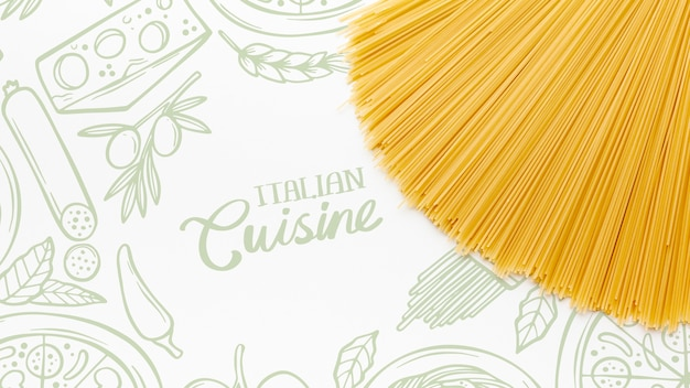 Flat lay uncooked pasta with hand drawn background