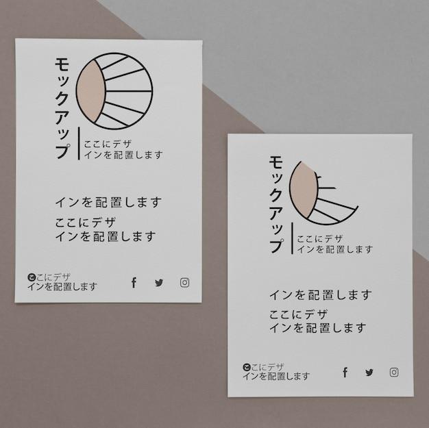 Flat lay various asian mock-up document