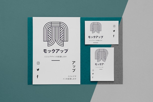 Flat lay various japanese mock-up document