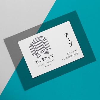 さまざまな日本のモックアップドキュメントをフラットレイ