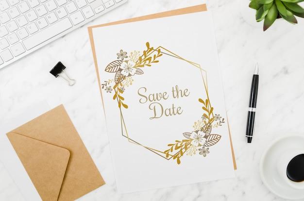 Flat lay wedding card mock-up