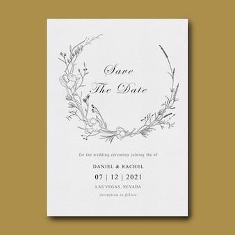 Flat lay of wedding invitation card template