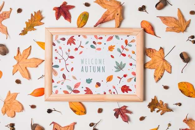 Flat lay with autumn leaves and frame