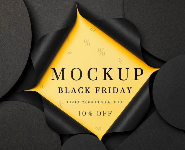 Flat lay yellow torn mock-up black friday