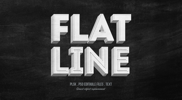 Flat line 3d text style effect mockup