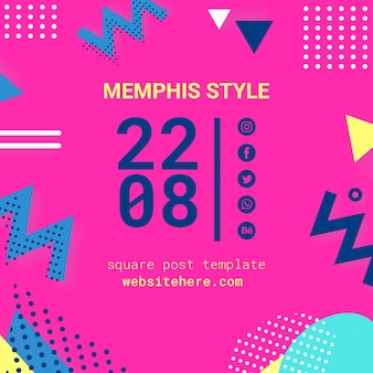 Flat pink memphis style background