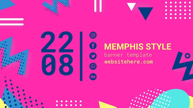Flat pink memphis style banner