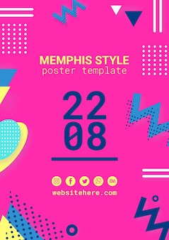 Flat pink memphis style poster
