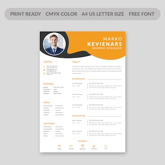 Flat resume design template