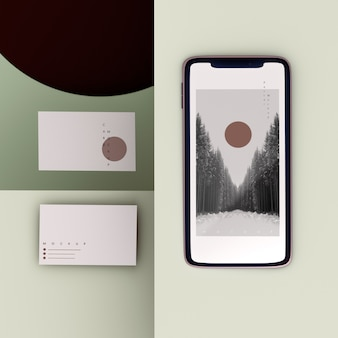 Flat scene branding phone and business card mockup