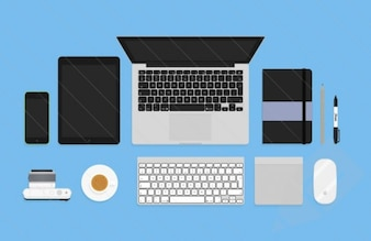 Flat tools and objects PSD