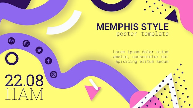 Flat yellow memphis style banner
