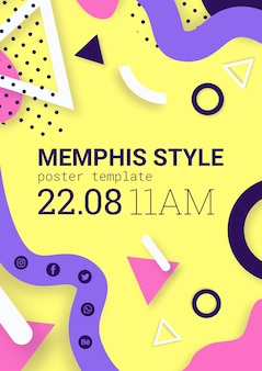 Flat yellow memphis style poster