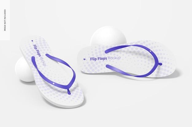Flip flops mockup, perspective