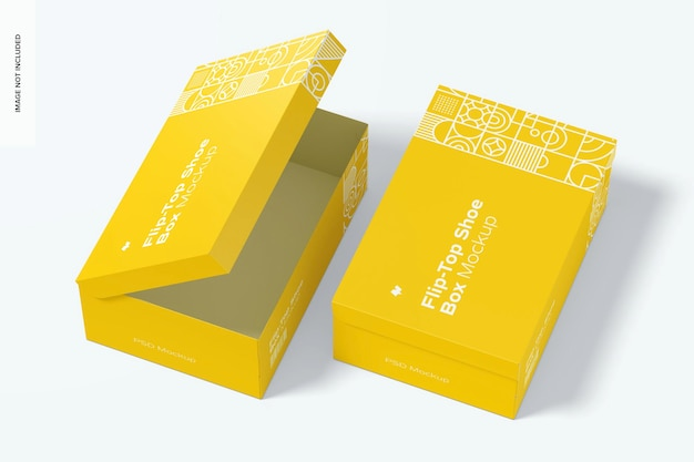 Flip-top shoe boxes mockup, opened and closed