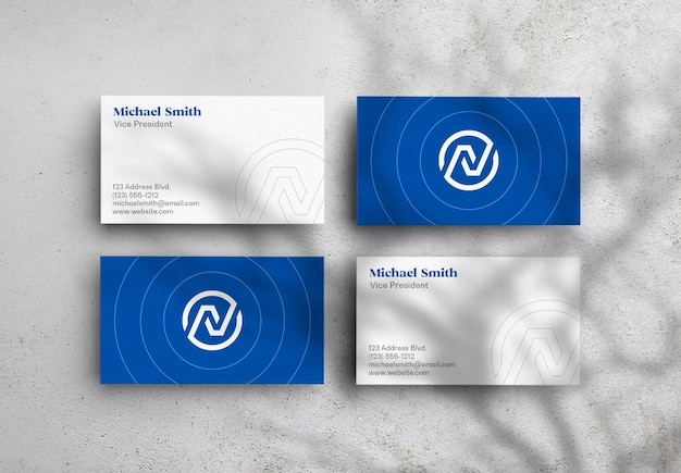 Float business card mockup bird view with shadow overlay