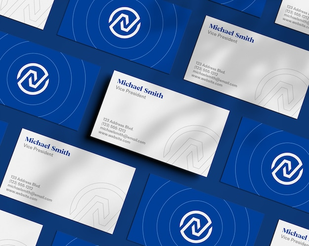 Float business card pattern with shadow overlay mockup