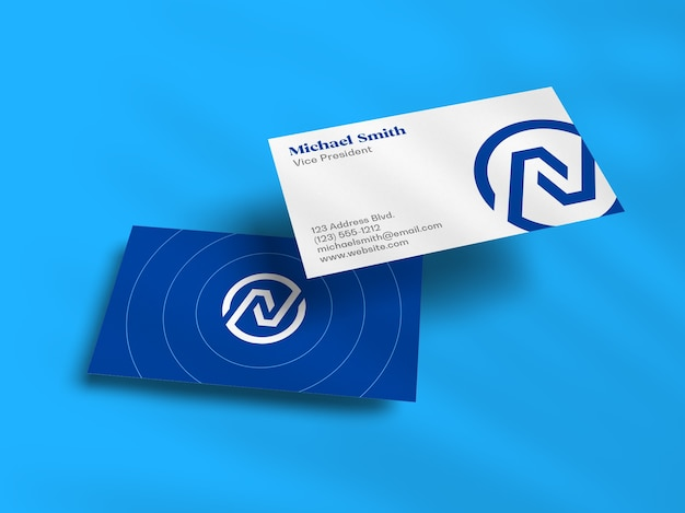 Float stack of business card mockup with shadow overlay