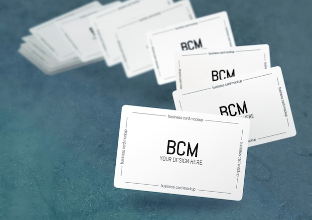 Floating blurred business cards mockup